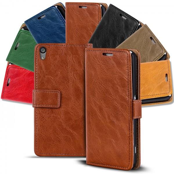 Safers Retro Tasche für Sony Xperia Z1 Hülle Wallet Case Handyhülle Vintage Slim Cover
