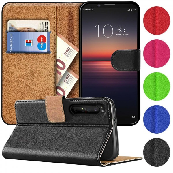 Safers Basic Wallet für Sony Xperia 1 II Hülle Bookstyle Klapphülle Handy Schutz Tasche
