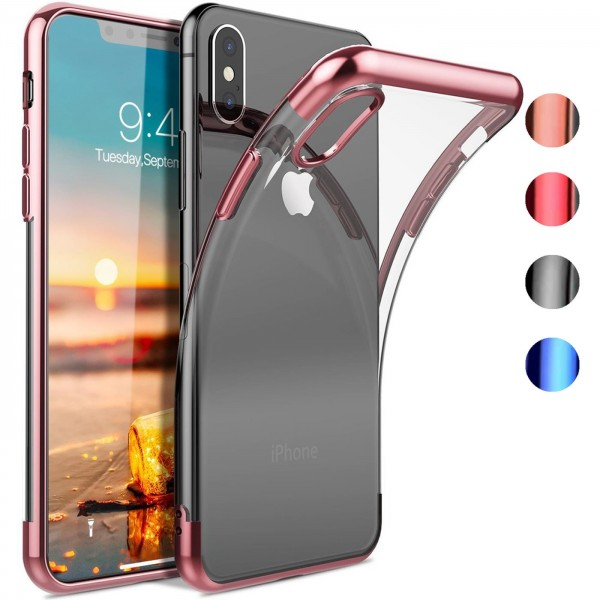 Safers Color Hülle für Apple iPhone XS Max Case Silikon Cover Transparent mit Farbrand Handyhülle
