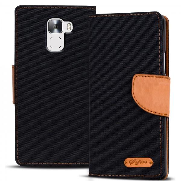 Safers Textil Wallet für Honor 7 Hülle Bookstyle Jeans Look Handy Tasche