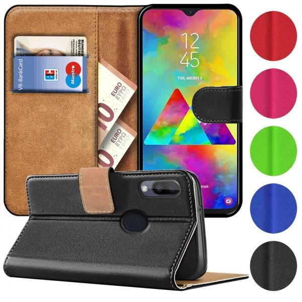 Safers Basic Wallet für Samsung Galaxy M20 Hülle Bookstyle Klapphülle Handy Schutz Tasche