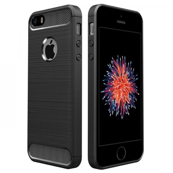 Safers Carbon Hülle für Apple iPhone 5 5S SE 1 Schutzhülle Handy Case Cover