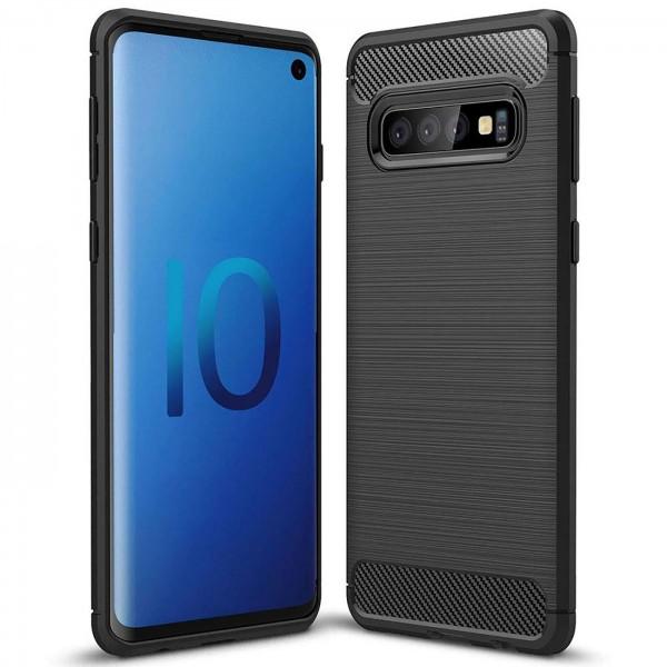 Safers Carbon Hülle für Samsung Galaxy S10 Plus Schutzhülle Handy Case Cover