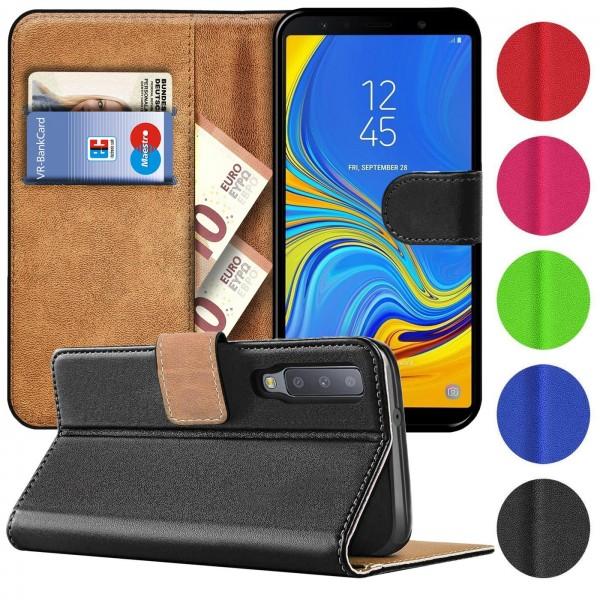 Safers Basic Wallet für Samsung Galaxy A7 2018 Hülle Bookstyle Klapphülle Handy Schutz Tasche
