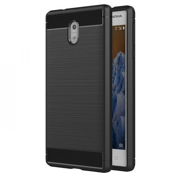 Safers Carbon Hülle für Nokia 3 Schutzhülle Handy Case Hybrid TPU Cover