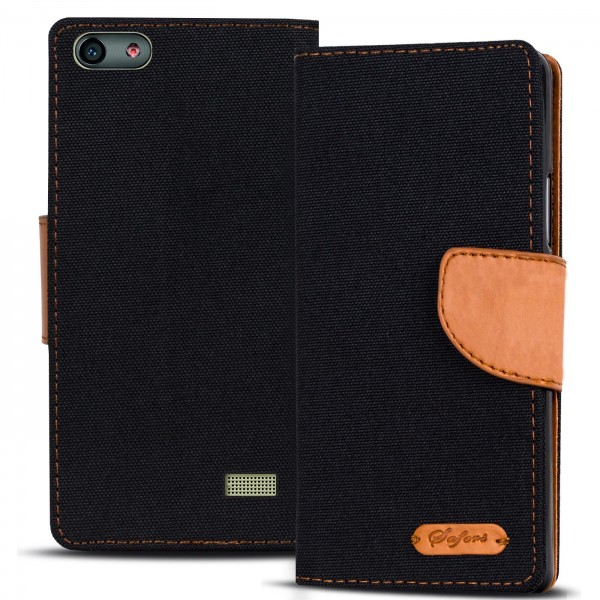Safers Textil Wallet für Huawei G Play Mini Hülle Bookstyle Jeans Look Handy Tasche