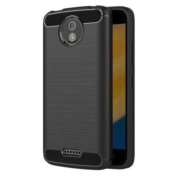 Safers Carbon Hülle für Motorola Moto C Plus Schutzhülle Handy Case Cover