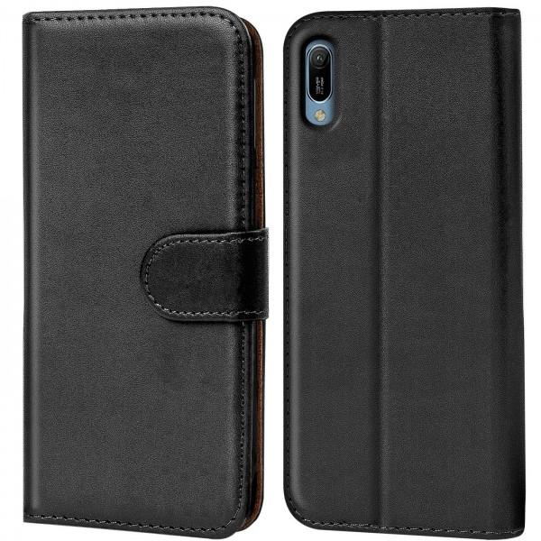 Safers Basic Wallet für Huawei Y6 2019 Hülle Bookstyle Klapphülle Handy Schutz Tasche