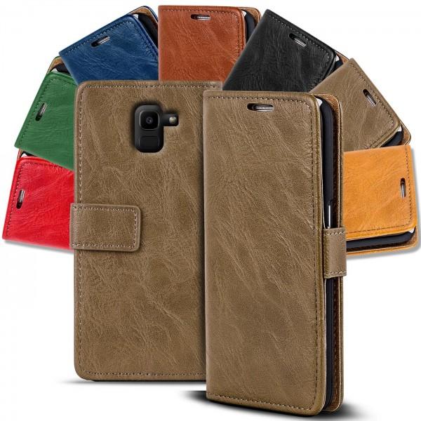 Safers Retro Tasche für Samsung Galaxy J6 2018 Hülle Wallet Case Handyhülle Vintage Slim Cover