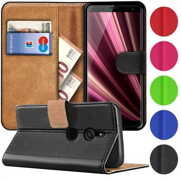 Safers Basic Wallet für Sony Xperia XZ3 Hülle Bookstyle Klapphülle Handy Schutz Tasche