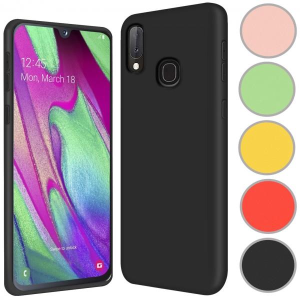 Safers Color TPU für Samsung Galaxy A40 Hülle Soft Silikon Case mit innenliegendem Stoffbezug