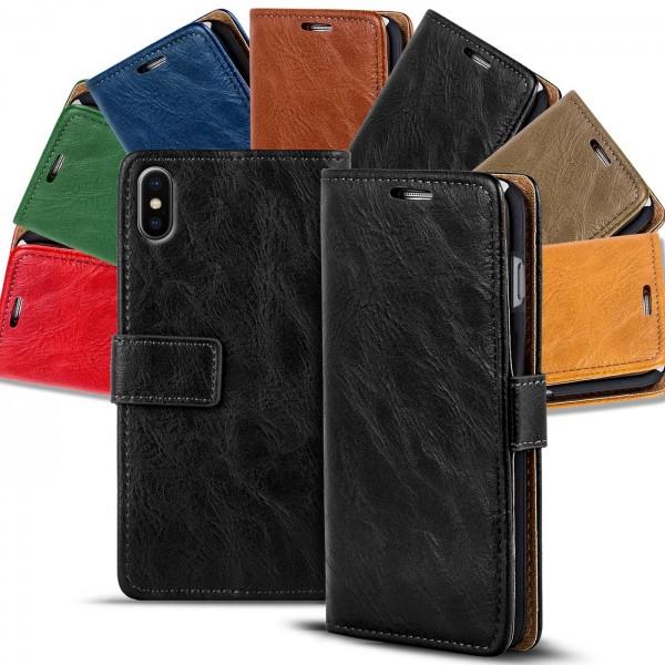 Safers Retro Tasche für iPhone X / XS Hülle Wallet Case Handyhülle Vintage Slim Cover
