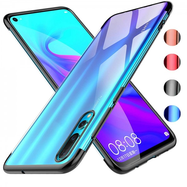 Safers Color Hülle für Huawei P30 Case Silikon Cover Transparent mit Farbrand Handyhülle
