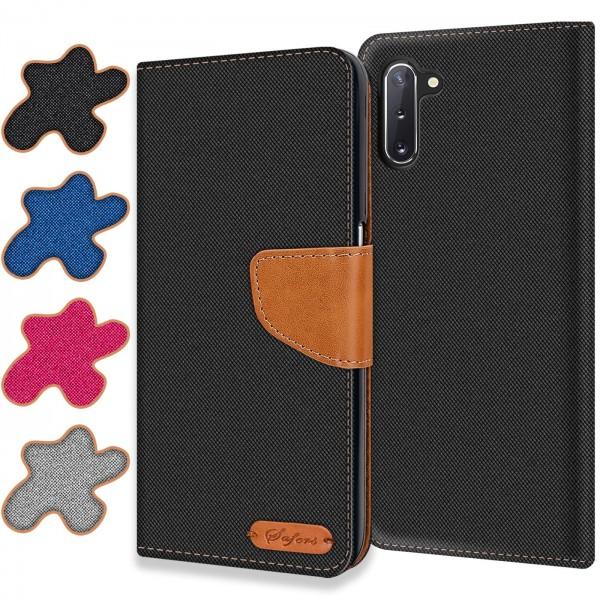 Safers Textil Wallet für Samsung Galaxy Note 10 Hülle Bookstyle Jeans Look Handy Tasche