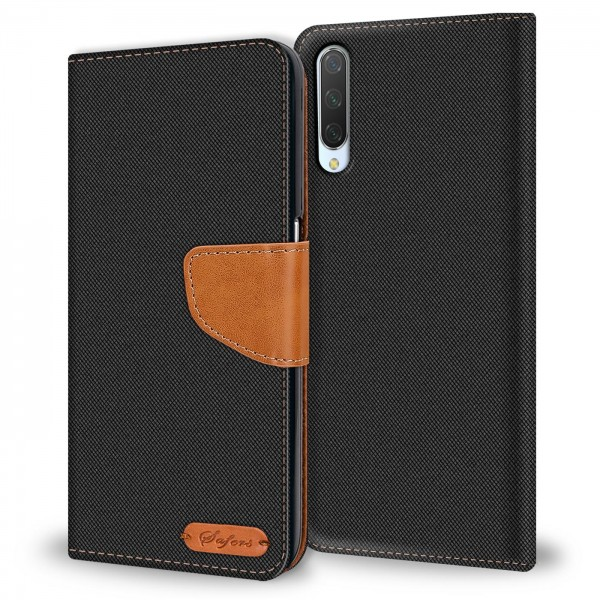 Safers Textil Wallet für Xiaomi Mi 9 Lite Hülle Bookstyle Jeans Look Handy Tasche