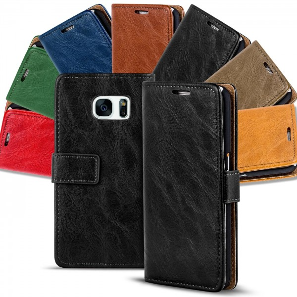 Safers Retro Tasche für Samsung Galaxy S7 Hülle Wallet Case Handyhülle Vintage Slim Cover