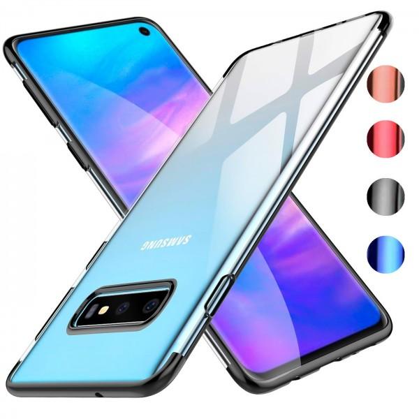 Safers Color Hülle für Samsung Galaxy S10 Plus Case Silikon Cover Transparent mit Farbrand Handyhüll