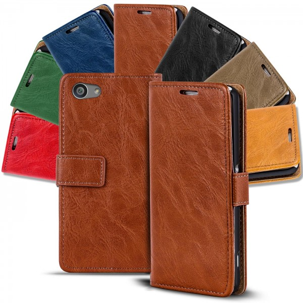 Safers Retro Tasche für Sony Xperia Z5 Compact Hülle Wallet Case Handyhülle Vintage Slim Cover