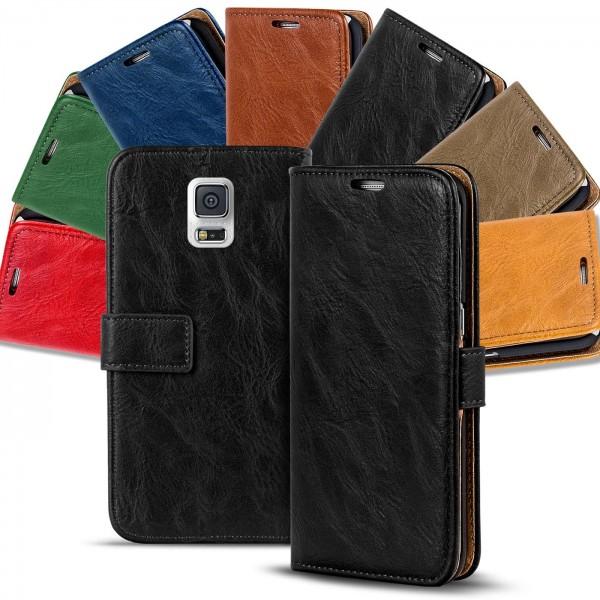 Safers Retro Tasche für Samsung Galaxy S5 Mini Hülle Wallet Case Handyhülle Vintage Slim Cover