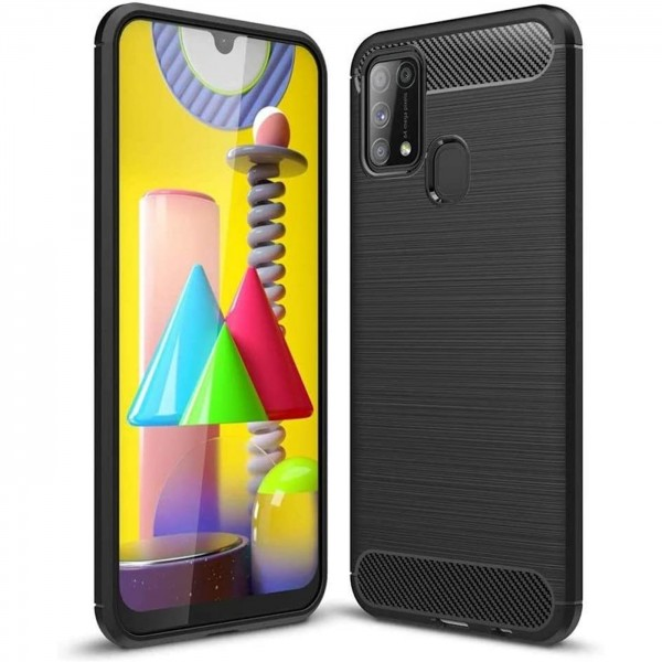 Safers Carbon Hülle für Samsung Galaxy M31 Schutzhülle Handy Case Cover