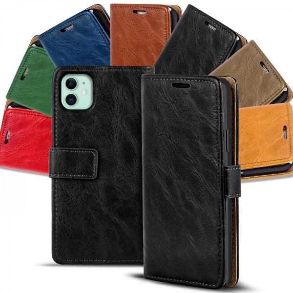 Safers Retro Tasche für iPhone 11 Hülle Wallet Case Handyhülle Vintage Slim Cover