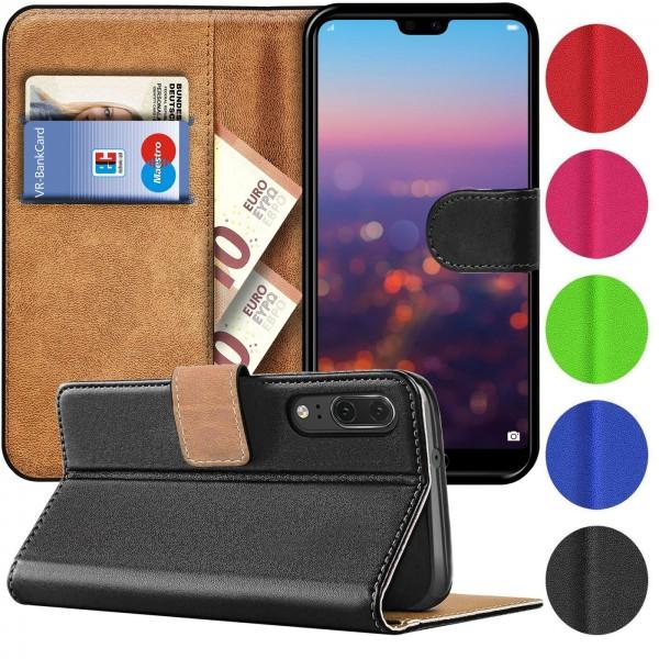 Safers Basic Wallet für Huawei P20 Hülle Bookstyle Klapphülle Handy Schutz Tasche