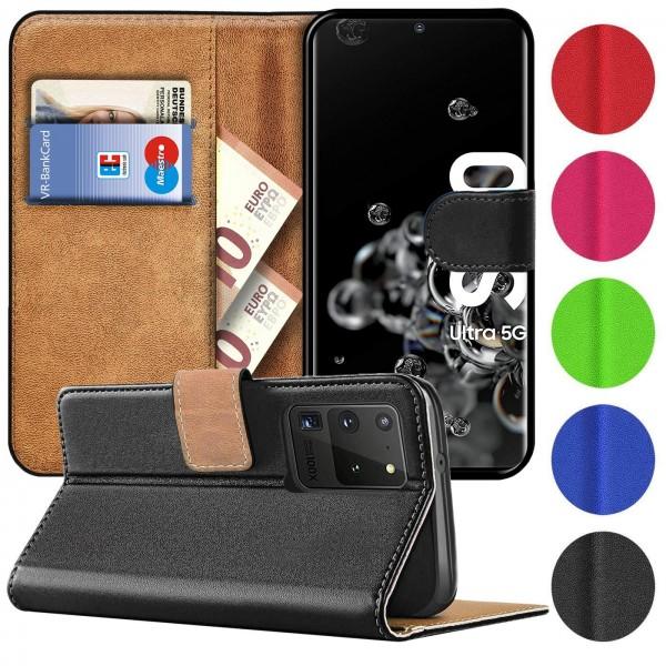 Safers Basic Wallet für Samsung Galaxy S20 Ultra Hülle Bookstyle Klapphülle Handy Schutz Tasche