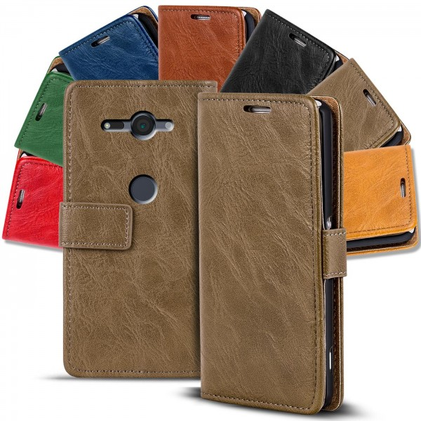 Safers Retro Tasche für Sony Xperia XZ2 Compact Hülle Wallet Case Handyhülle Vintage Slim Cover