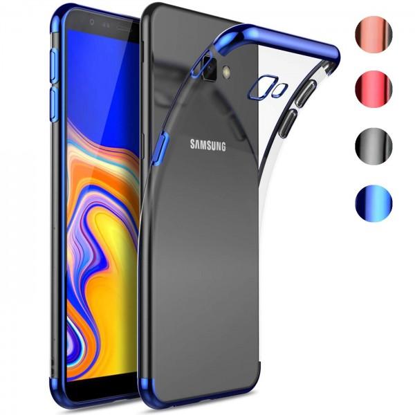 Safers Color Hülle für Samsung Galaxy J4 Plus Case Silikon Cover Transparent mit Farbrand Handyhülle