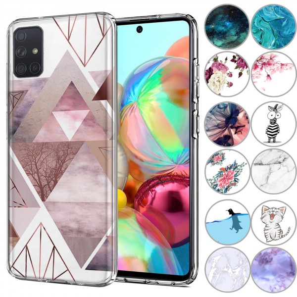 Safers IMD Case für Samsung Galaxy A71 Hülle Silikon Case mit Muster Schutzhülle
