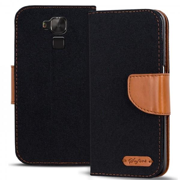 Safers Textil Wallet für Huawei GT3 Hülle Bookstyle Jeans Look Handy Tasche