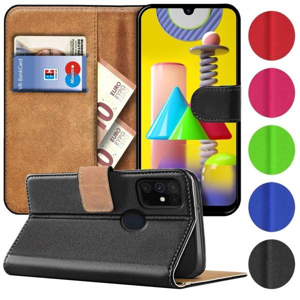 Safers Basic Wallet für Samsung Galaxy M31 Hülle Bookstyle Klapphülle Handy Schutz Tasche