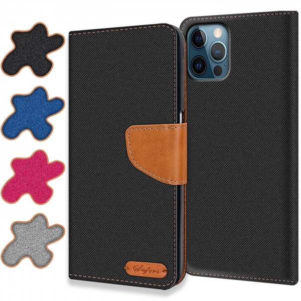 Safers Textil Wallet für Apple iPhone 12 / 12 Pro (6.1) Hülle Bookstyle Jeans Look Handy Tasche
