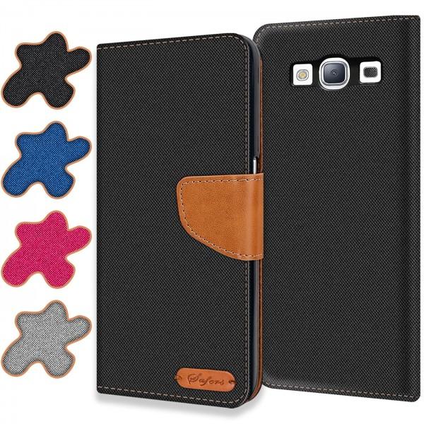Safers Textil Wallet für Samsung Galaxy S3 Hülle Bookstyle Jeans Look Handy Tasche