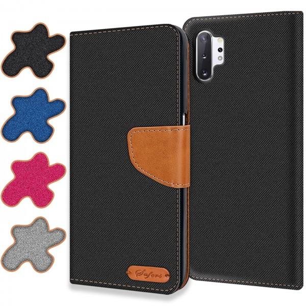Safers Textil Wallet für Samsung Galaxy Note 10 Plus Hülle Bookstyle Jeans Look Handy Tasche