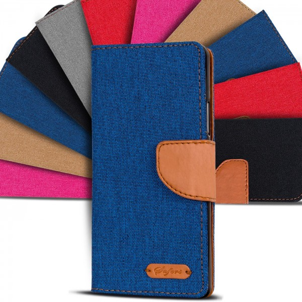 Safers Textil Wallet für Wiko Tommy Hülle Bookstyle Jeans Look Handy Tasche