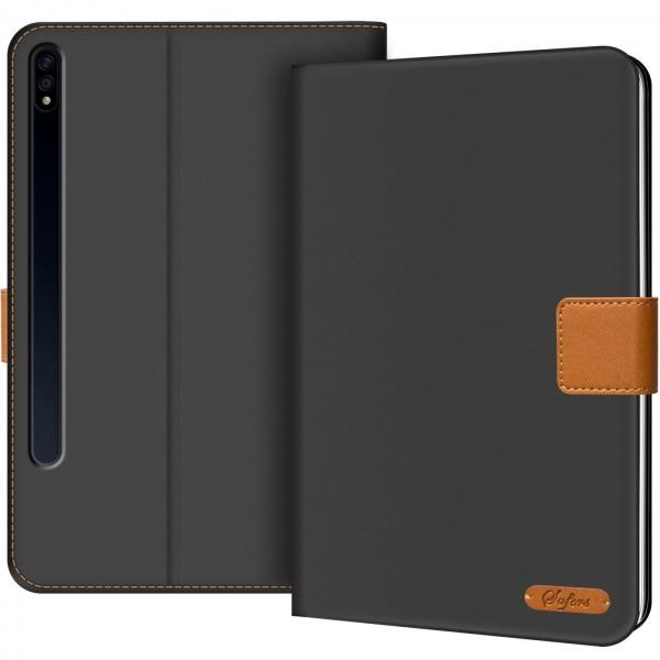 Safers Texture Case für Samsung Galaxy Tab S7+ 12.4 (T970 T975) Hülle Tablet Tasche mit Kartenfach
