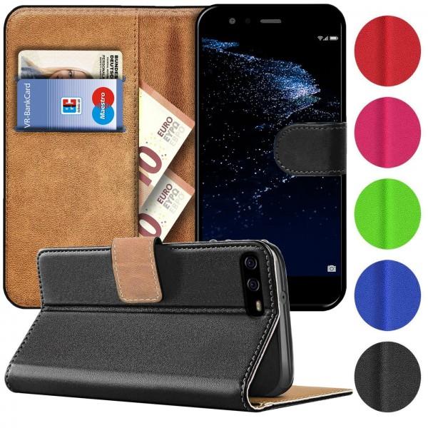 Safers Basic Wallet für Huawei P10 Plus Hülle Bookstyle Klapphülle Handy Schutz Tasche