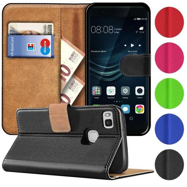 Safers Basic Wallet für Huawei P9 Lite Hülle Bookstyle Klapphülle Handy Schutz Tasche