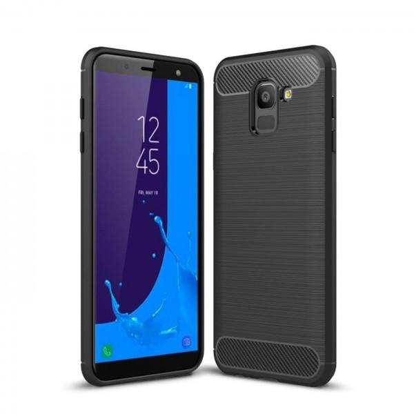 Safers Carbon Hülle für Samsung Galaxy J6 2018 Schutzhülle Handy Case Cover
